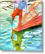 Inle Lake Leg-rower Metal Print