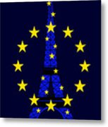 Inspired By The Eiffel Tower And The European Union Metal Print