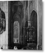 Interior Of A Gothic Church At Night Metal Print