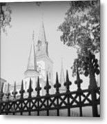 Jackson Square Fence With St. Louis Cathedral In Background Metal Print