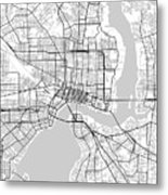 Jacksonville Florida Usa Light Map Metal Print
