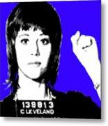 Jane Fonda Mug Shot - Blue Metal Print