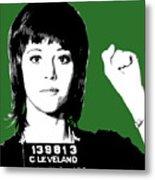 Jane Fonda Mug Shot - Green Metal Print