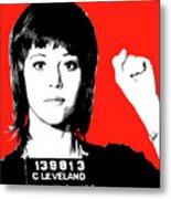 Jane Fonda Mug Shot - Red Metal Print