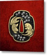 Japanese Katana Tsuba - Twin Gold Fish On Black Steel Over Red Velvet Metal Print
