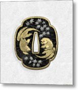 Japanese Katana Tsuba - Twin Gold Fish On Black Steel Over White Leather Metal Print