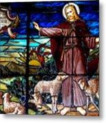 Jesus And Lambs Metal Print