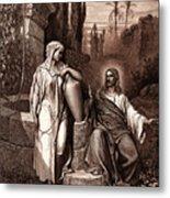 Jesus And The Woman Of Samaria Metal Print