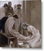 Jesus Washing The Feet Of His Disciples Metal Print