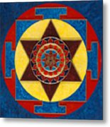 Kameshvari Yantra Blessings Sacred 3d High Relief Artistically Crafted Wooden Yantra  23in X 23in Metal Print
