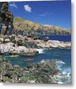 Kayaking Along Coastline Metal Print