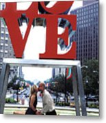 Kiss Under Love Sculpture Metal Print