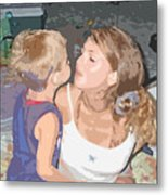 Kissing Mommy2 Metal Print