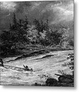 Krieghoff: Canoe On Rapids Metal Print