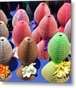Ladies Collapsible Straw Hats At The Cove Marketplace At Port Ca Metal Print