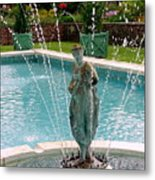 Lady In Fountain Metal Print