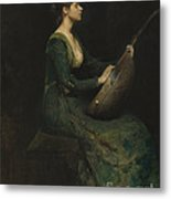 Lady With A Lute Metal Print
