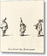 Lady With Dress Gathered Up, And Two Gentlemen Metal Print