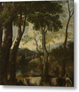 Landscape With A Cowherd Metal Print