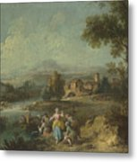 Landscape With A Group Of Figures Fishing Metal Print