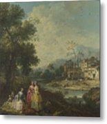 Landscape With A Group Of Figures Metal Print