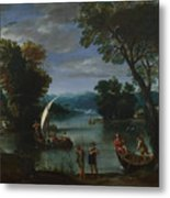 Landscape With A River And Boats Metal Print