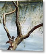 Landscape With Bird In A Tree Metal Print