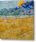 Landscape With Wheat Sheaves And Rising Moon Metal Print