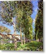 Lane Of Poplars At Moret Metal Print