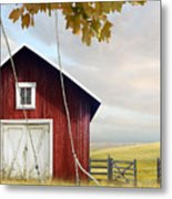 Large Red Barn With Bicycle In Field Of Wheat Metal Print