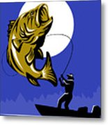 Largemouth Bass Fish And Fly Fisherman Metal Print