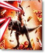 Laser Eyes Space Cat Riding Dog And Dinosaur Metal Print