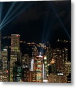 Laser Show Over City At Night Metal Print