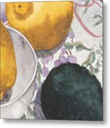 Lemons And Avocado Still-life Metal Print