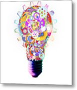 Light Bulb Design By Cogs And Gears  Metal Print