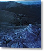 Light On Stone Mountain Slope With Forest At Night Metal Print