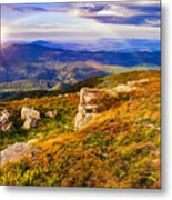 Light On Stone Mountain Slope With Forest Metal Print