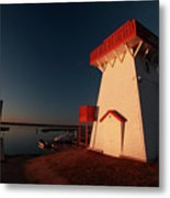 Lighthouse And Marina At Hecla In Manitoba Metal Print