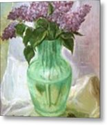 Lilacs In A Glass Vase Metal Print