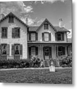 Lincoln Cottage In Black And White Metal Print