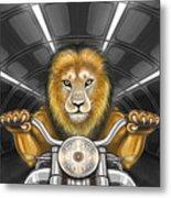 Lion On Motorcycle Metal Print