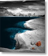Liquid Blue Inlets Metal Print