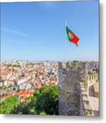 Lisbon Castle Flag Metal Print