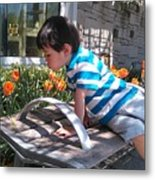 Little Boy And Flowers Metal Print