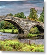 Llanrwst Bridge And Tea Room Metal Print