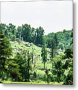 Looking Up At Little Round Top Metal Print