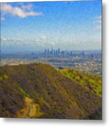 Los Angeles Ca Skyline Runyon Canyon Hiking Trail Metal Print