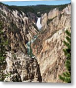 Lower Falls From Artist Point In Yellowstone National Park Metal Print