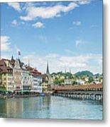 Lucerne Chapel Bridge And Water Tower - Panoramic Metal Print