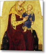 Madonna And Child Enthroned Metal Print